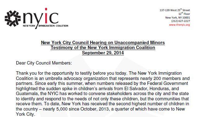 NYIC City Council Testimony on Unaccompanied Minors