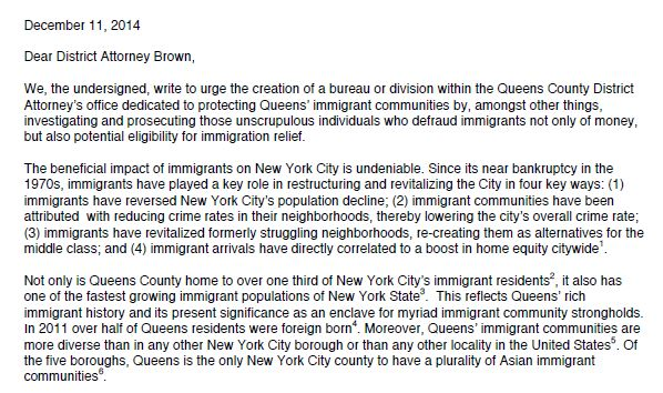 Queens District Attorney Sign-On Letter