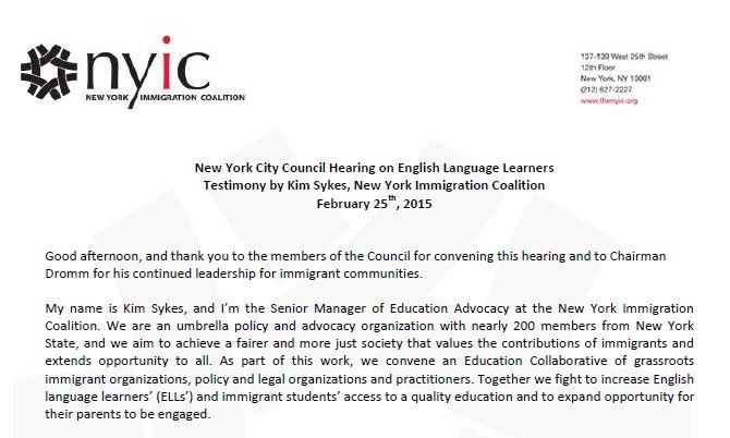 NYIC City Council Testimony on English Language Learners 2-25-15