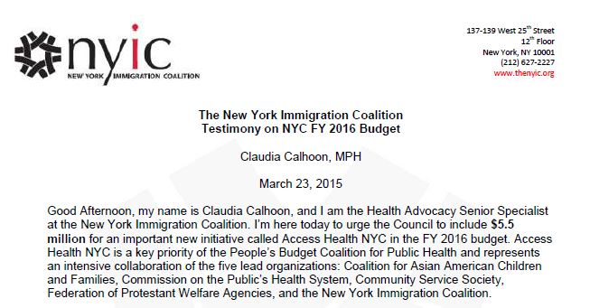 The New York Immigration Coalition Testimony on NYC FY 2016 Budget