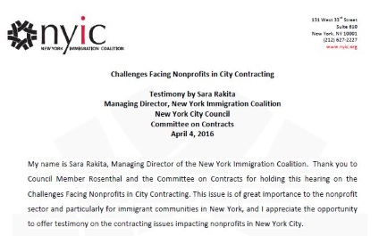Challenges Facing Nonprofits in City Contracting – NYIC Testimony at NYC City Council